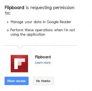 Flipboardからのアクセスを許可